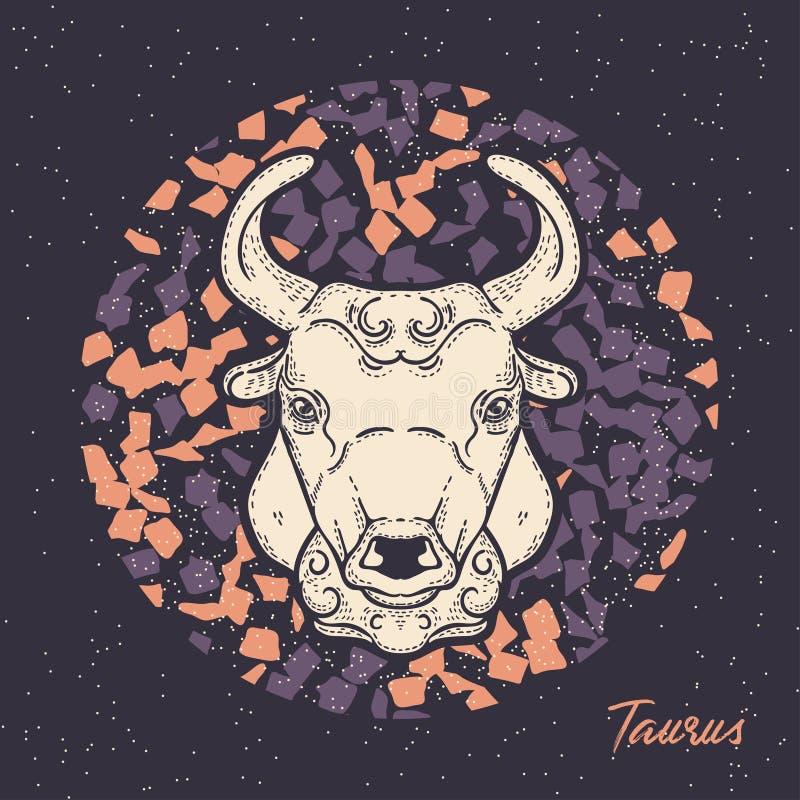 Het tekenStier van de dierenriem Het symbool van de astrologische horoscoop royalty-vrije illustratie