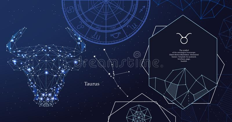 Het tekenStier van de dierenriem Het symbool van de astrologische horoscoop Horizontale banner vector illustratie
