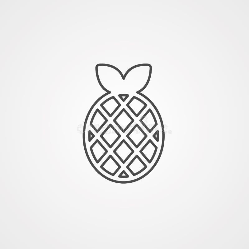 Het tekensymbool van het ananas vectorpictogram royalty-vrije illustratie