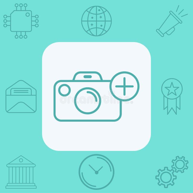 Het tekensymbool van het camera vectorpictogram royalty-vrije stock afbeelding