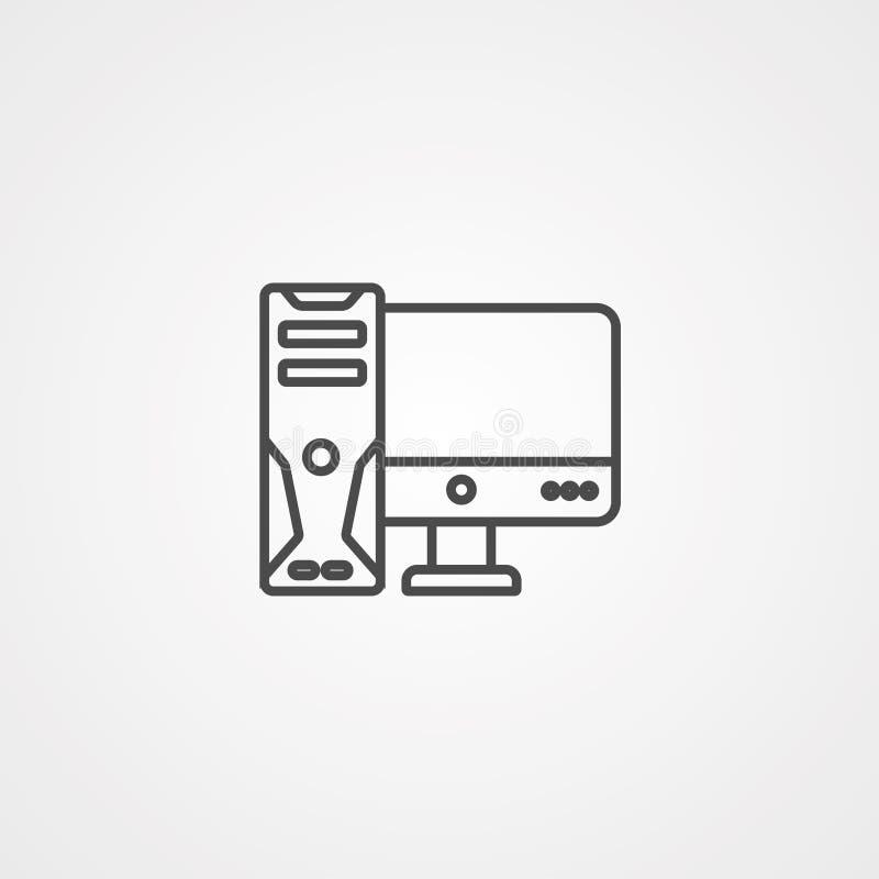 Het tekensymbool van het Desktop vectorpictogram royalty-vrije illustratie