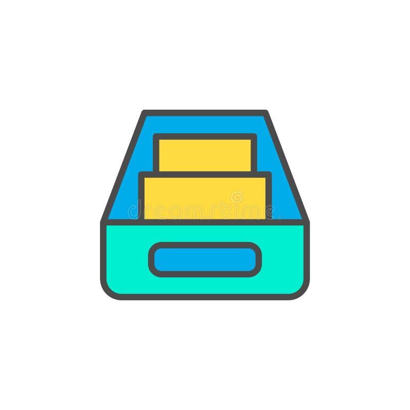 Het tekensymbool van het Inbox vlak vectorpictogram royalty-vrije illustratie