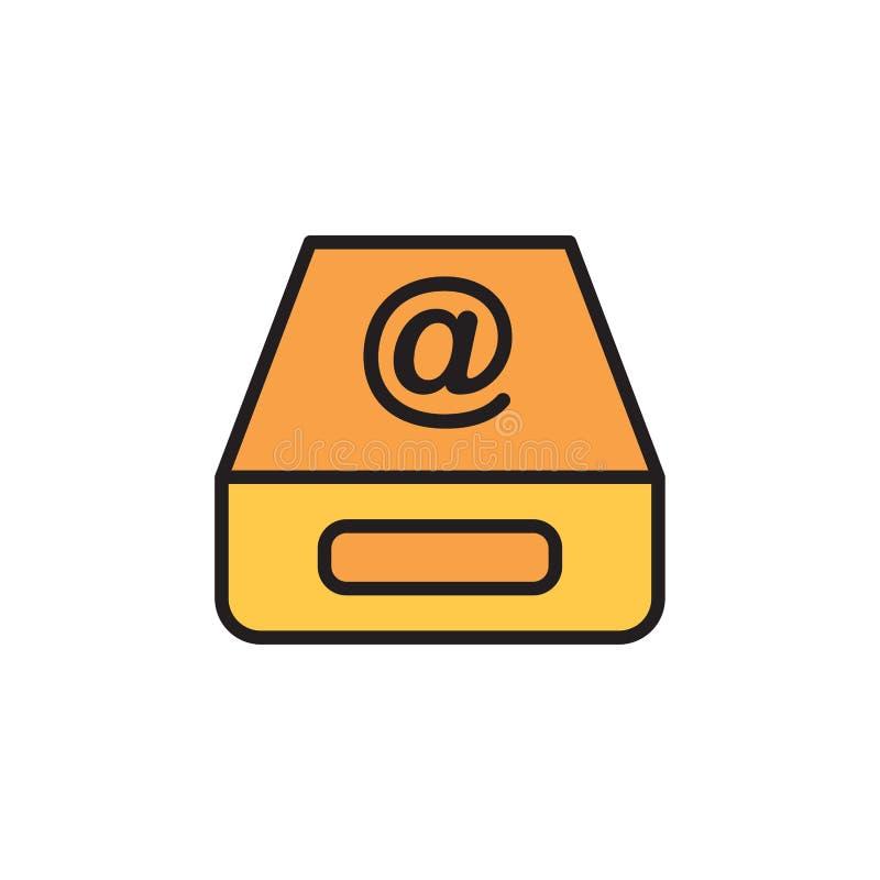 Het tekensymbool van het Inbox vlak vectorpictogram vector illustratie