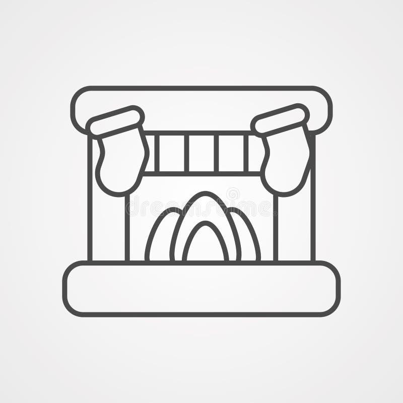 Het tekensymbool van het open haard vectorpictogram vector illustratie