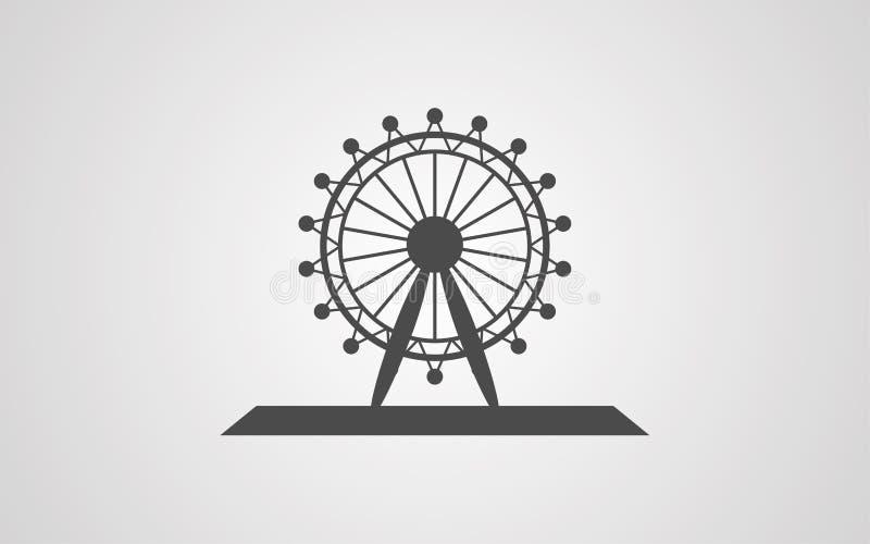 Het tekensymbool van het reuzenrad vectorpictogram stock illustratie