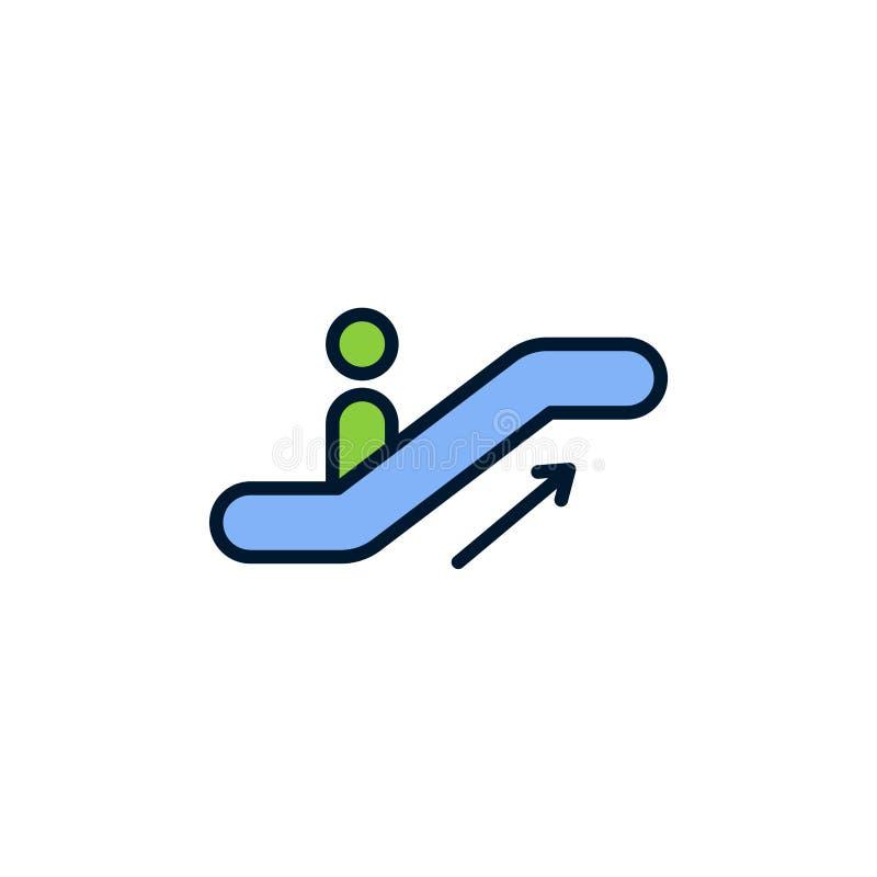 Het tekensymbool van het roltrap vlak vectorpictogram royalty-vrije illustratie
