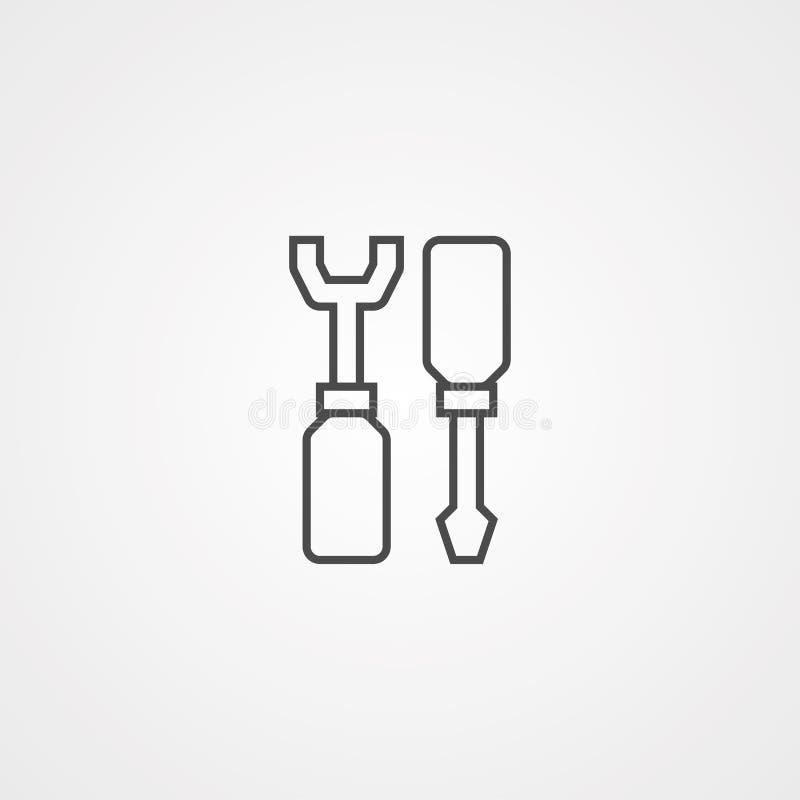 Het tekensymbool van het schroevedraaier vectorpictogram vector illustratie