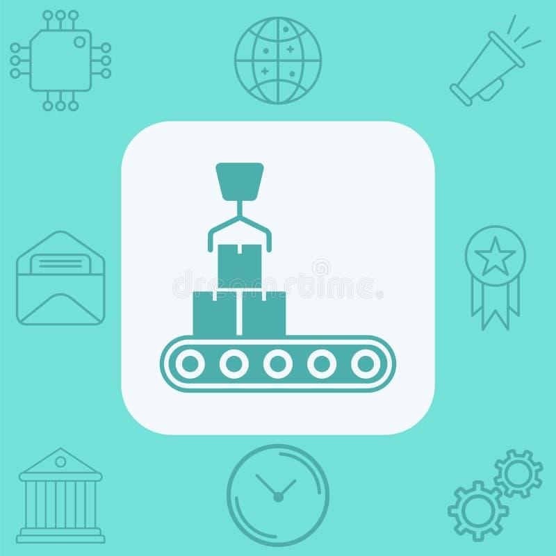 Het tekensymbool van het transportband vectorpictogram stock illustratie