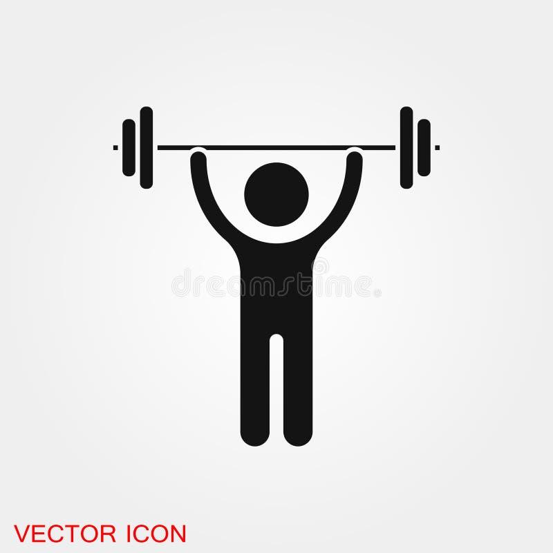 Het tekensymbool van het Weightlifterpictogram voor ontwerp royalty-vrije illustratie