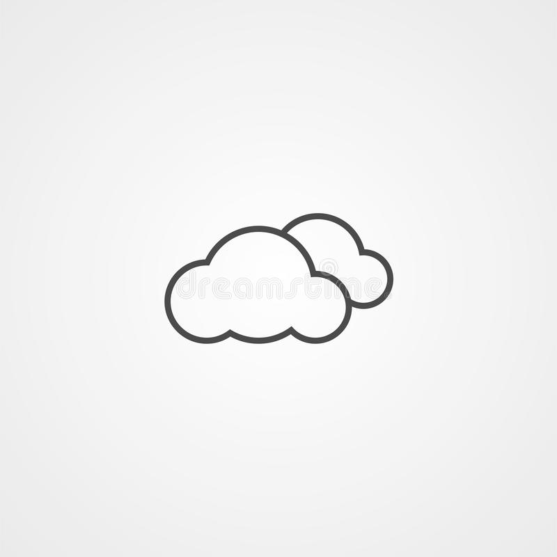 Het tekensymbool van het wolken vectorpictogram royalty-vrije illustratie