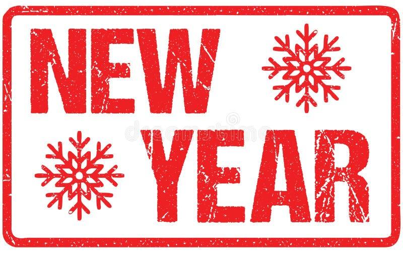 Het Tekentypografie van nieuwjaar Ruwe die Brieven op Wit wordt geïsoleerd Rode Rubber de Zegelimitatie van Inktgrunge stock illustratie