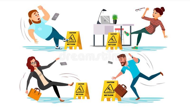 Het tekenvector van de voorzichtigheids natte vloer Mensenmisstappen op natte vloer Situatie in bureau Het Teken van het gevaar S stock illustratie