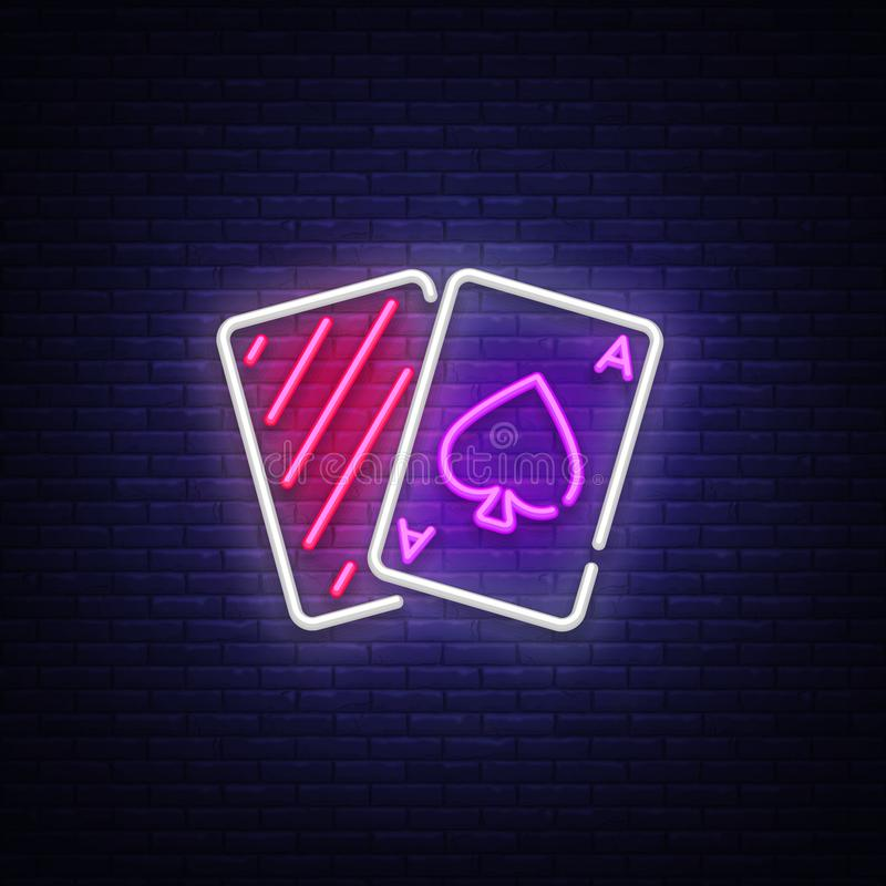 Het tekenvector van het pookneon Van het het Ontwerpmalplaatje van de casinopook het neonteken, lichte banner, neonuithangbord, n stock illustratie