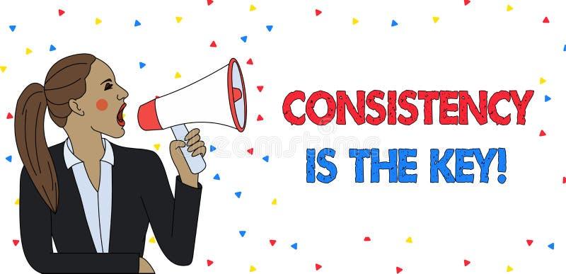 Het tekstteken die Consistentie tonen is de Sleutel Conceptuele foto door Gewoonte en van Breaking Bad Goede Degenen Jonge Vrouw  vector illustratie