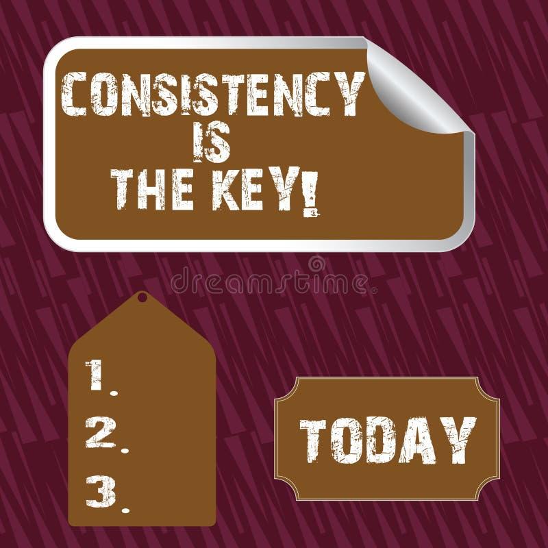 Het tekstteken die Consistentie tonen is de Sleutel Conceptuele foto door Gewoonte en van Breaking Bad Goede Degenen Lege Kleur T vector illustratie