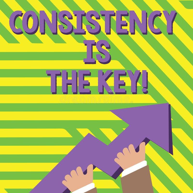 Het tekstteken die Consistentie tonen is de Sleutel Conceptuele foto door Gewoonte en van Breaking Bad Goede Degenenfoto van Hand vector illustratie