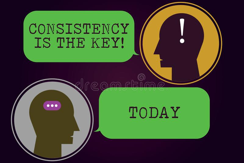 Het tekstteken die Consistentie tonen is de Sleutel Conceptuele foto Volledige Toewijding aan een Taak een gewoonte die procesboo royalty-vrije illustratie
