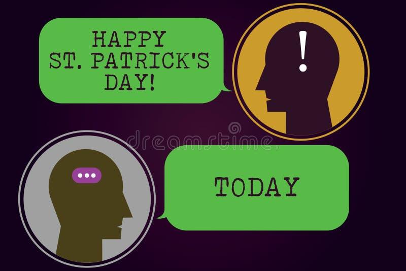 Het tekstteken die Gelukkige St Patrick S tonen is Dag Conceptuele de vierings groene gelukkige charmes en klavers van fotoierlan vector illustratie