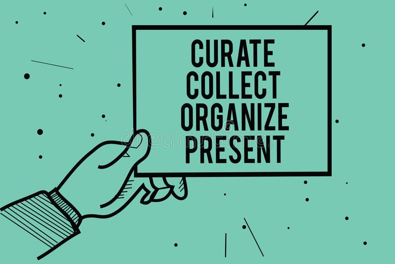 Het tekstteken die Kapelaan tonen verzamelt organiseert Heden Conceptuele foto die Organisatie Curation terugtrekken die de holdi stock illustratie