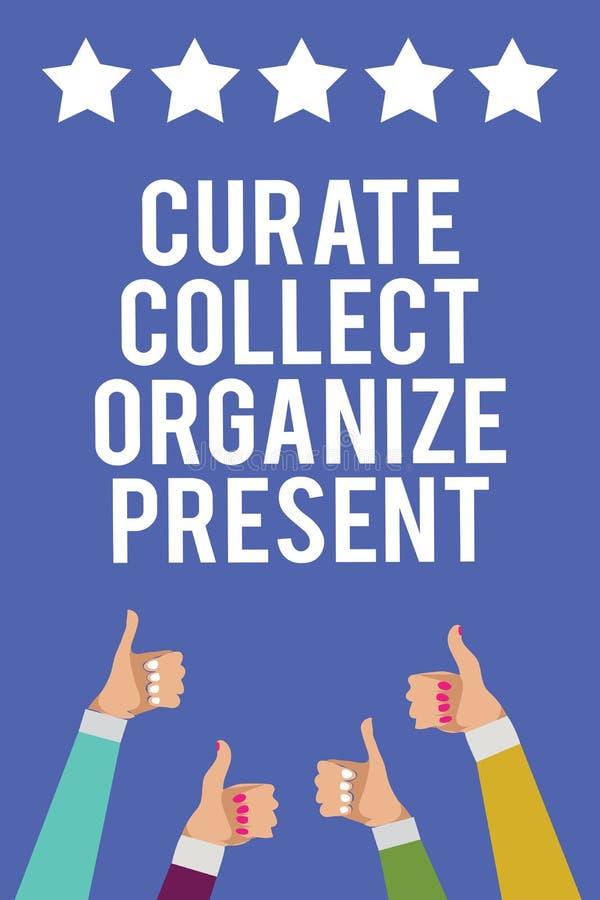 Het tekstteken die Kapelaan tonen verzamelt organiseert Heden Conceptuele foto die Organisatie Curation terugtrekken die Mannen v stock illustratie