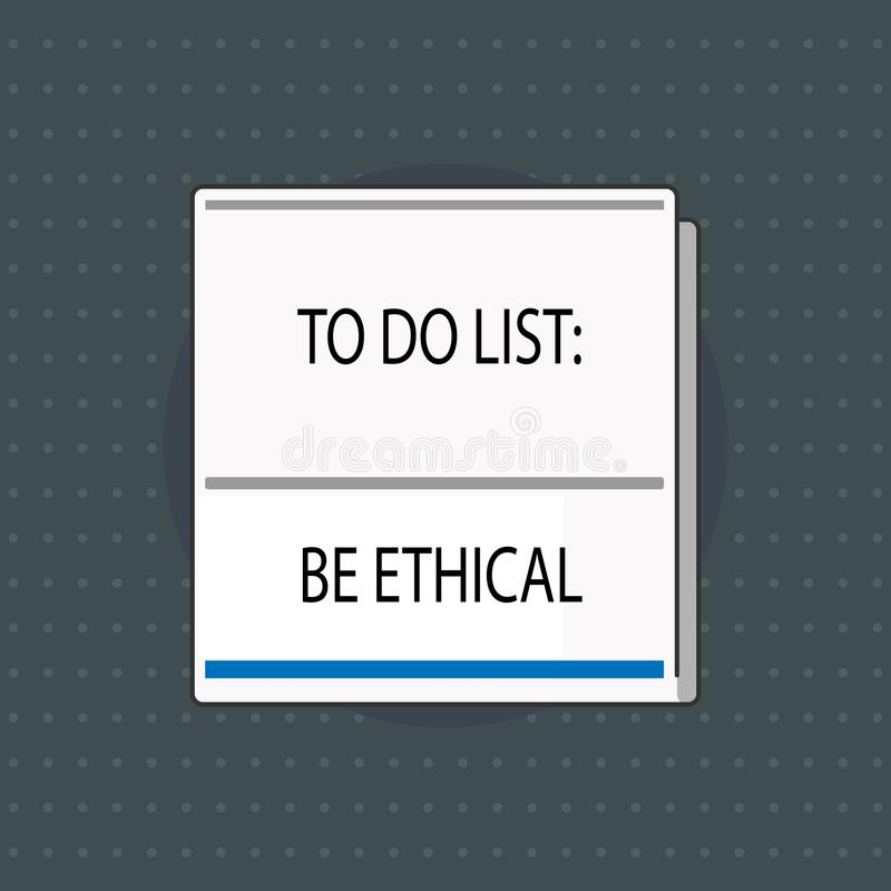 Het tekstteken die Lijst tonen te doen Ethisch is Conceptuele fotoplan of herinnering dat in een ethische cultuur worden gebouwd royalty-vrije illustratie