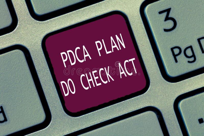 Het tekstteken die Pdca Plan tonen controleert Akte Het conceptuele betere Proces van fotodeming Wiel in het Oplossen van Problem stock fotografie