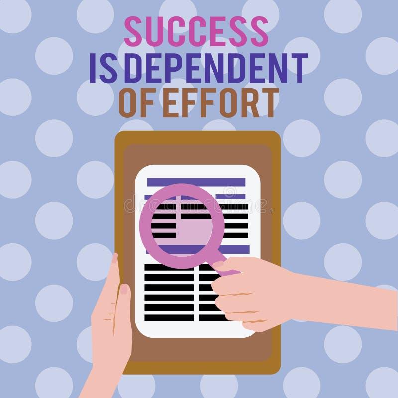Het tekstteken die Succes tonen is Afhankelijk van Inspanning De conceptuele foto levert inspanning om Blijvend Verblijf te slage stock illustratie
