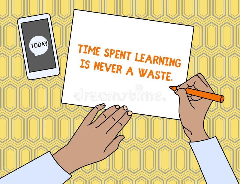 Het tekstteken die Tijd het Bestede Leren tonen is nooit een Afval Het conceptuele fotoonderwijs heeft geen eind houden lerend de royalty-vrije illustratie