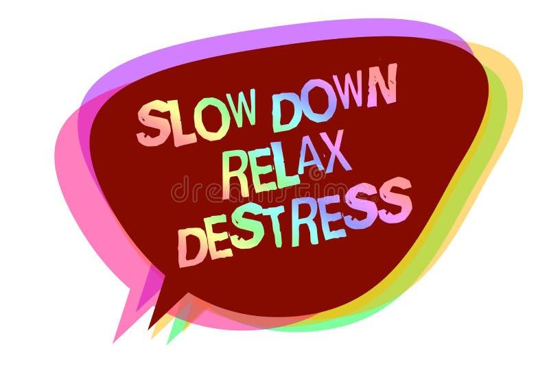 Het tekstteken die Ver*tragen tonen ontspant Destress Het conceptuele foto kalmeren brengt geluk en zette u in goed de bellenidee vector illustratie