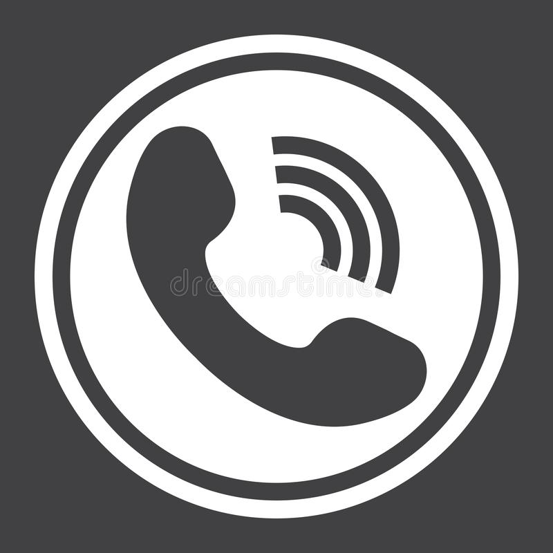 Het Telefoongesprek stevig pictogram, contacteert ons en website royalty-vrije illustratie