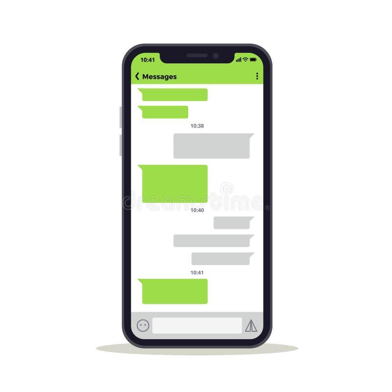 Het telefoonscherm met de berichten vectormalplaatje van de praatjebespreking Sociaal netwerkconcept stock illustratie