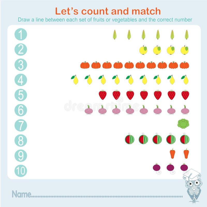 Het tellen en aanpassings onderwijsspelenjonge geitjes, het blad van de jonge geitjesactiviteit Het leren wiskunde, oefeningen stock illustratie