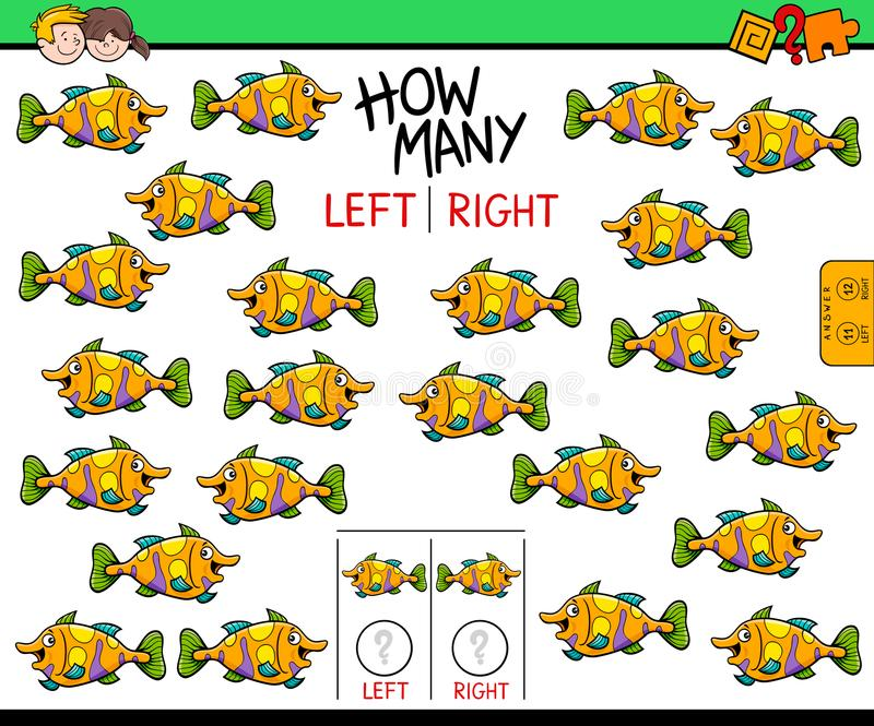 Het tellen links en juist beeld van vissen onderwijsspel royalty-vrije illustratie