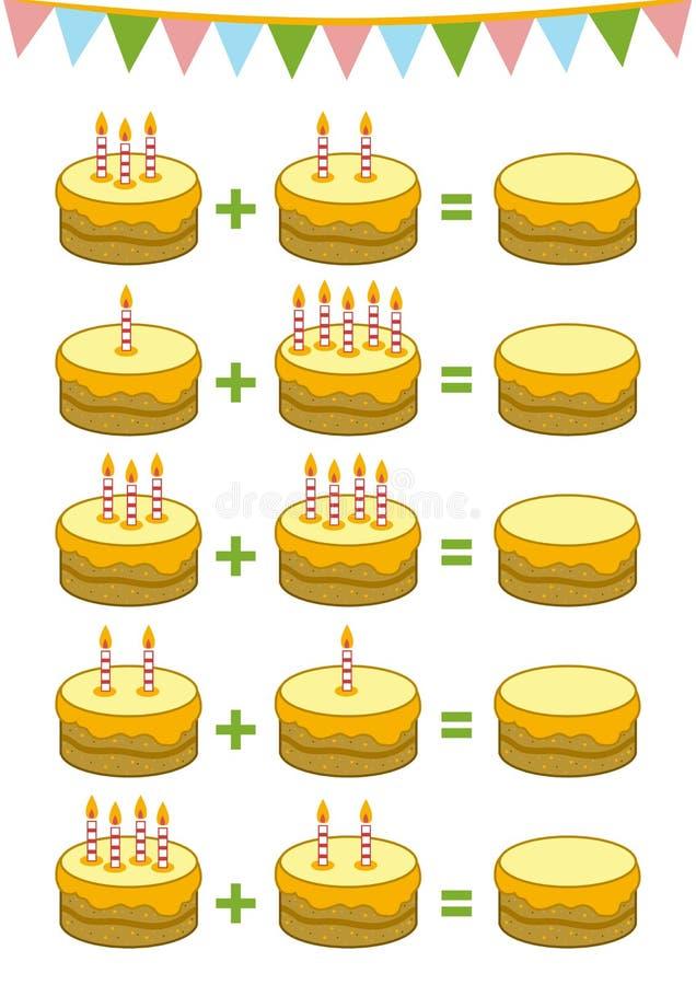 Het tellen van Onderwijsspel voor Kinderen Toevoegingsaantekenvellen vector illustratie