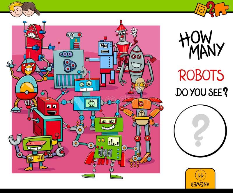 Het tellen van robots onderwijsspel voor jonge geitjes royalty-vrije illustratie