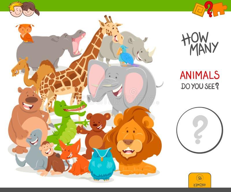 Het tellende onderwijsspel van beeldverhaalwilde dieren stock illustratie