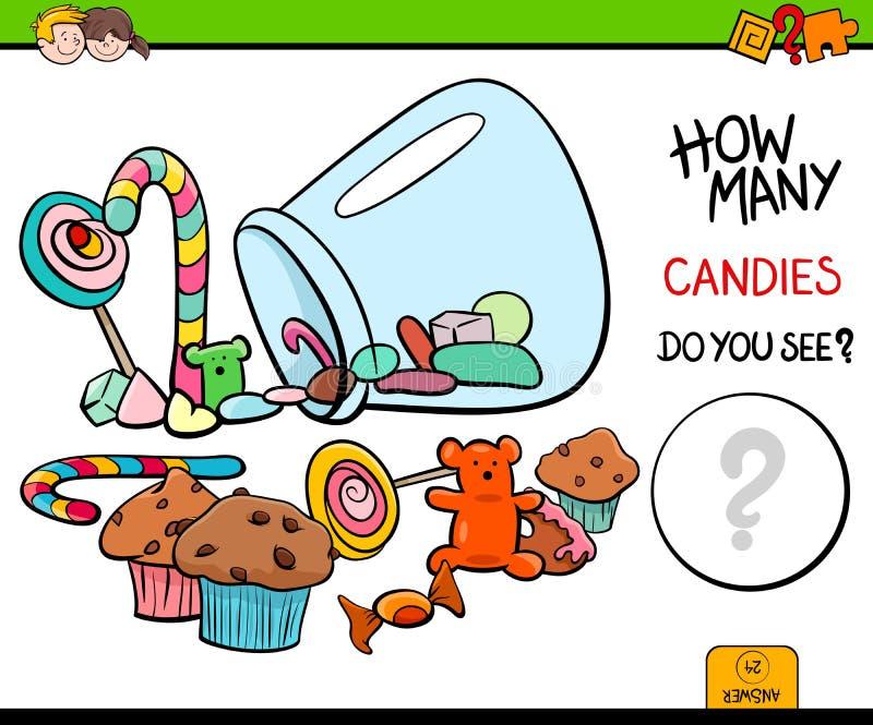 Het tellende spel van de suikergoed onderwijsactiviteit stock illustratie