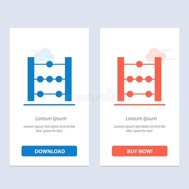 Het telraam, het Onderwijs, de Wiskunde Blauwe en Rode Download en kopen nu de Kaartmalplaatje van Webwidget royalty-vrije illustratie