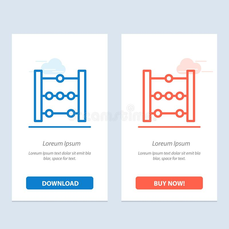 Het telraam, het Onderwijs, de Wiskunde Blauwe en Rode Download en kopen nu de Kaartmalplaatje van Webwidget stock illustratie