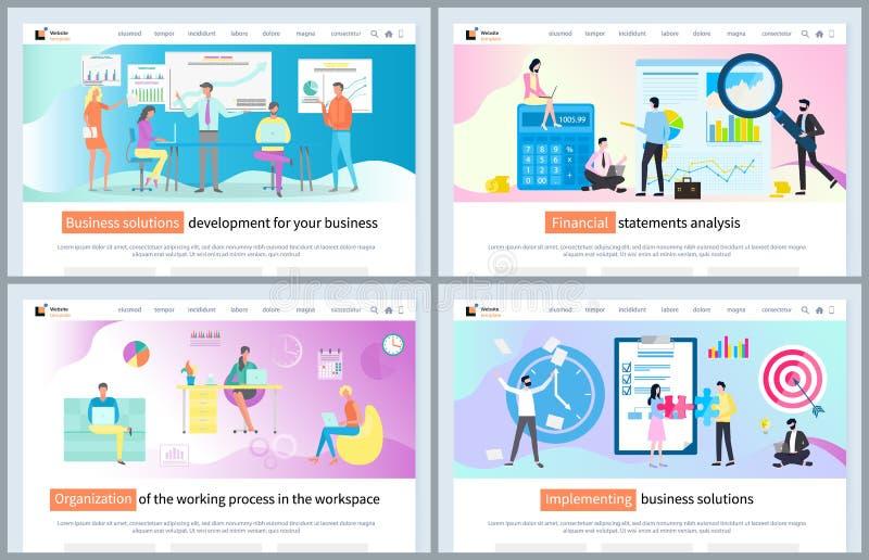 Het ten uitvoer leggen van de Website van de Bedrijfsoplossingswerkplaats stock illustratie