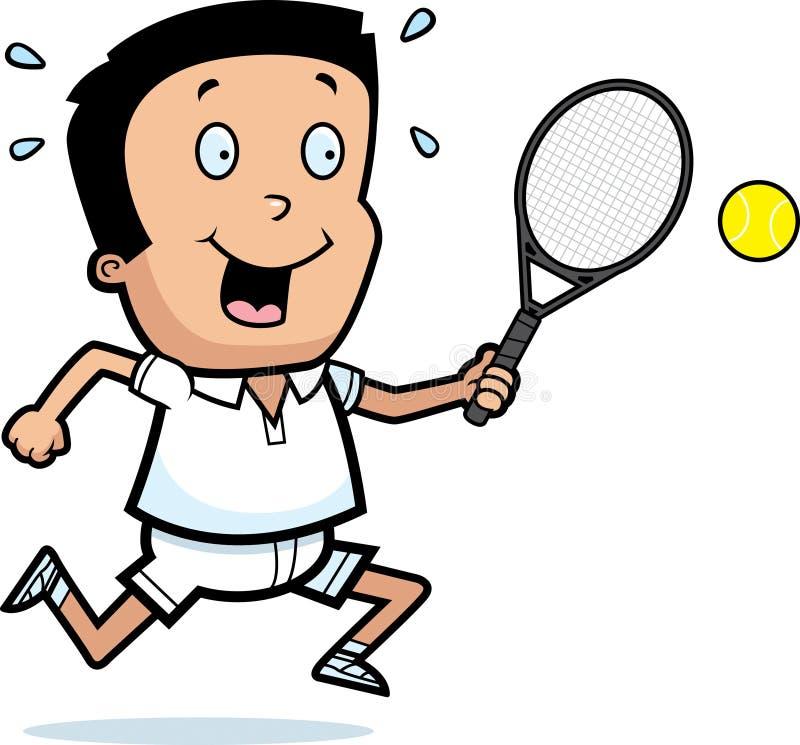 Het Tennis van de beeldverhaaljongen vector illustratie