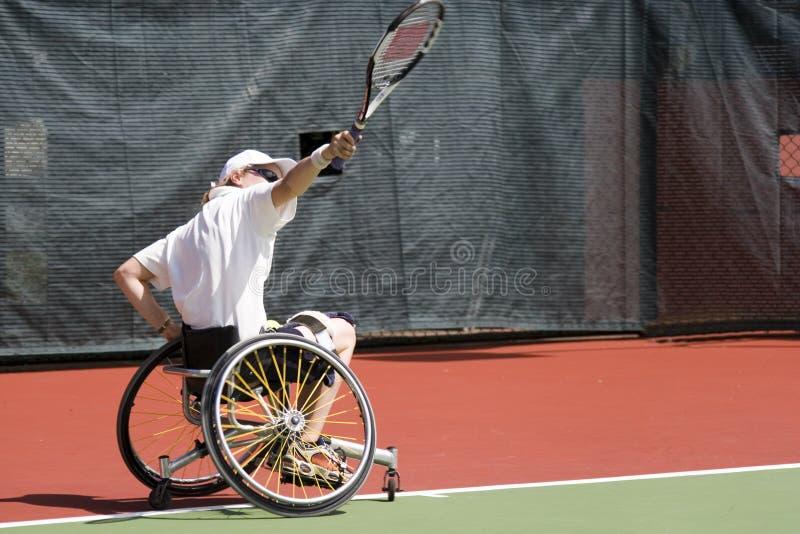 Het Tennis van de Stoel van het wiel voor Gehandicapten (Vrouwen) stock foto's