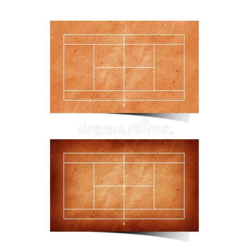 Het tennisgebied gerecycleerd document van Grunge royalty-vrije illustratie