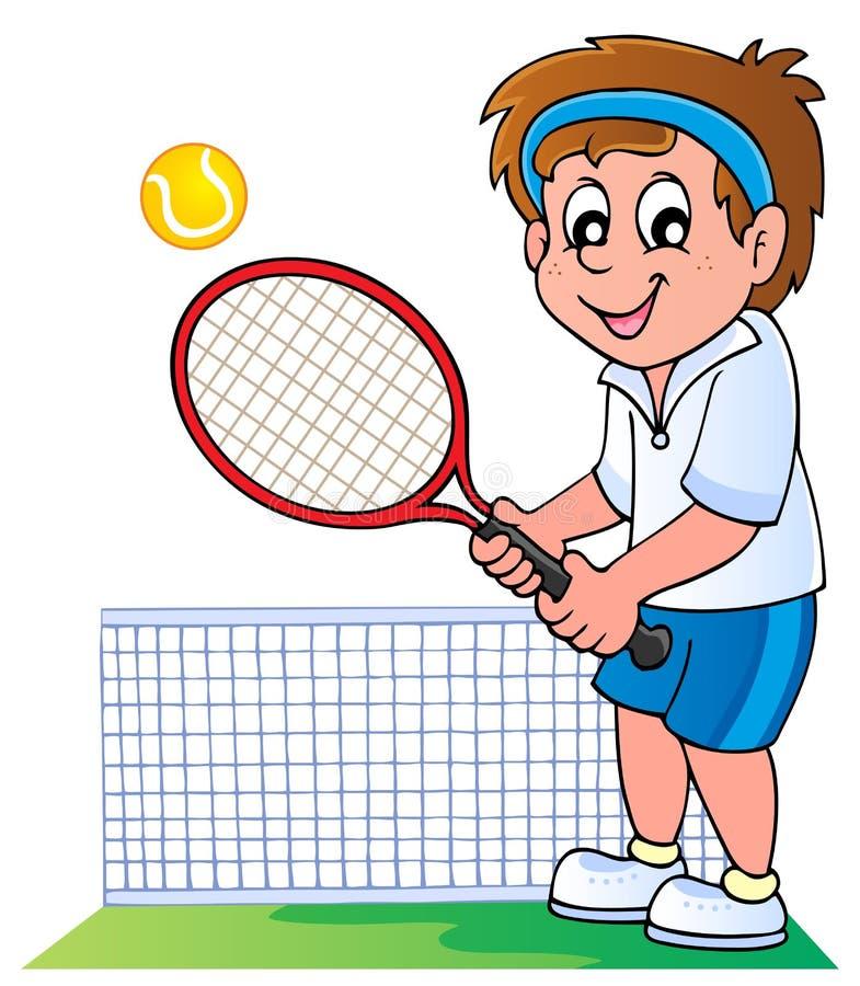 Het tennisspeler van het beeldverhaal royalty-vrije illustratie