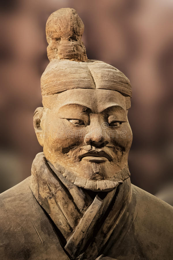 Het tentoongestelde voorwerp van het terracottaleger bij het Shaanxi-Geschiedenismuseum xian chi stock afbeelding