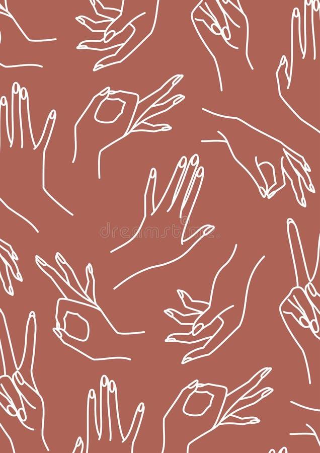 Het terracotta van de de handlijn van de vrouw en witte Achtergrond Vectordruk van vrouwelijke handen vector illustratie