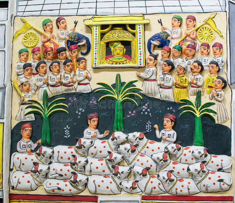 Het terracottaplaque van Rajasthan Molela stock afbeelding