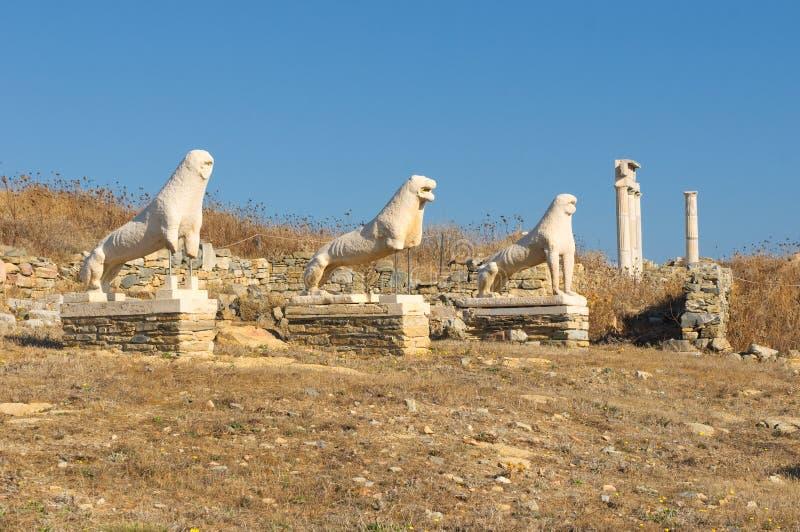 Het terras van de Leeuwen, Delos eiland, Griekenland stock fotografie