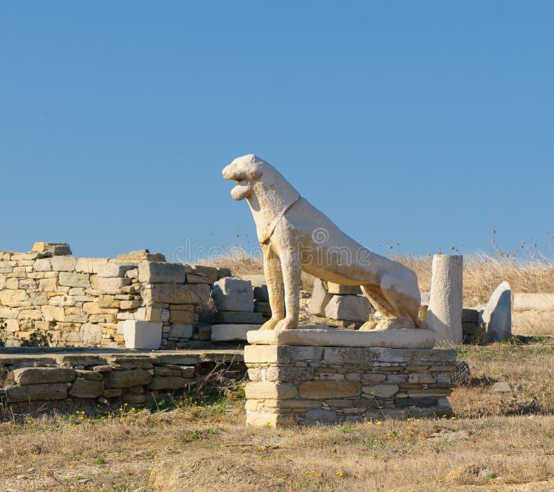 Het terras van de Leeuwen, Delos eiland, Griekenland stock foto