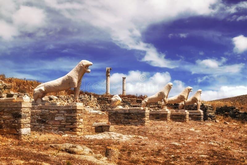 Het Terras van de Leeuwen op Delos-eiland stock afbeeldingen